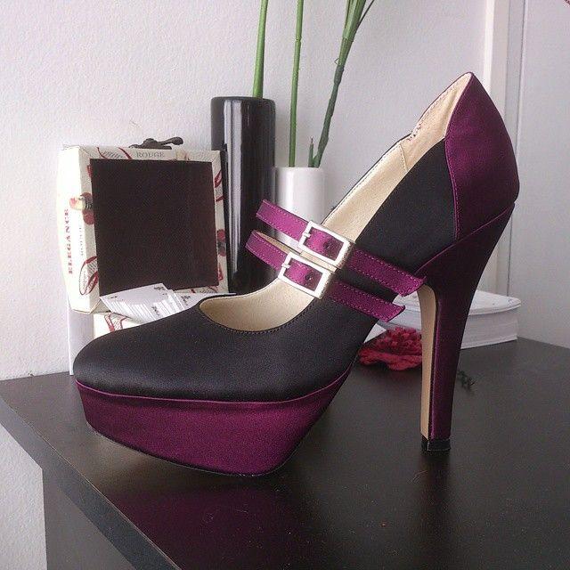MarF Zapatos - Modelo Francesca en Saten Negro y obispo
