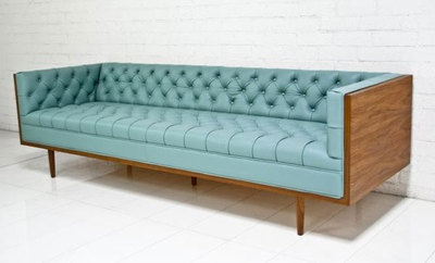 Celebrity Chesterfield Pale Blue Leather Sofa | eBay