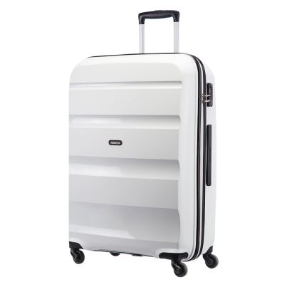 American Tourister 75cm Bon Air Spinner in white. Take on the world with this super strong case.  www.zelows.com.au