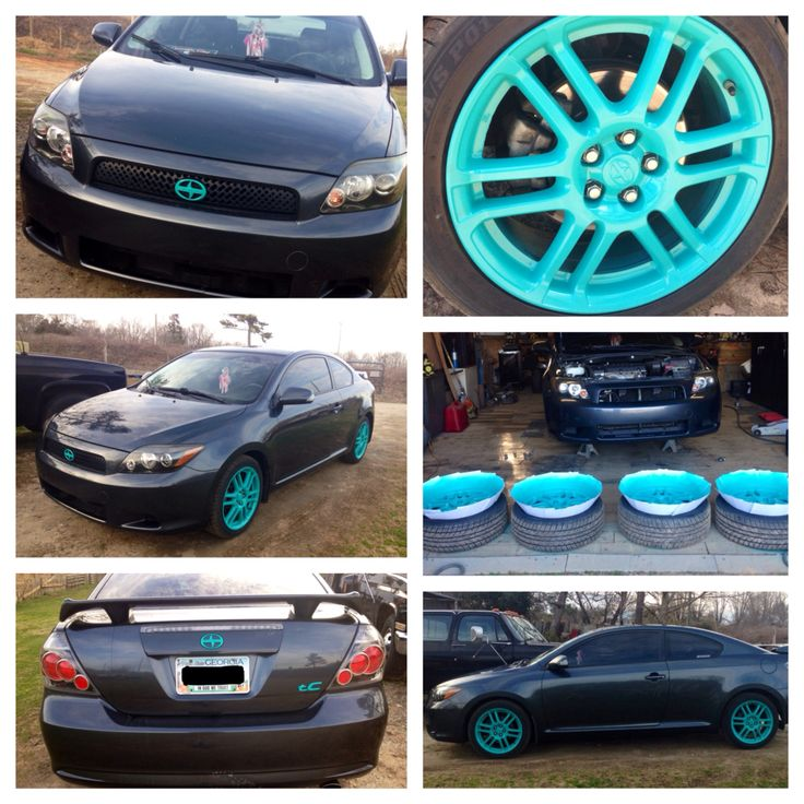 Scion TC 08 Intense Teal plasti dip! Rims and emblems project!  First time dip job.