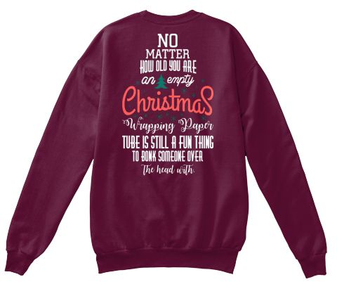 Christmas Fashioin Maroon  T-Shirt Back