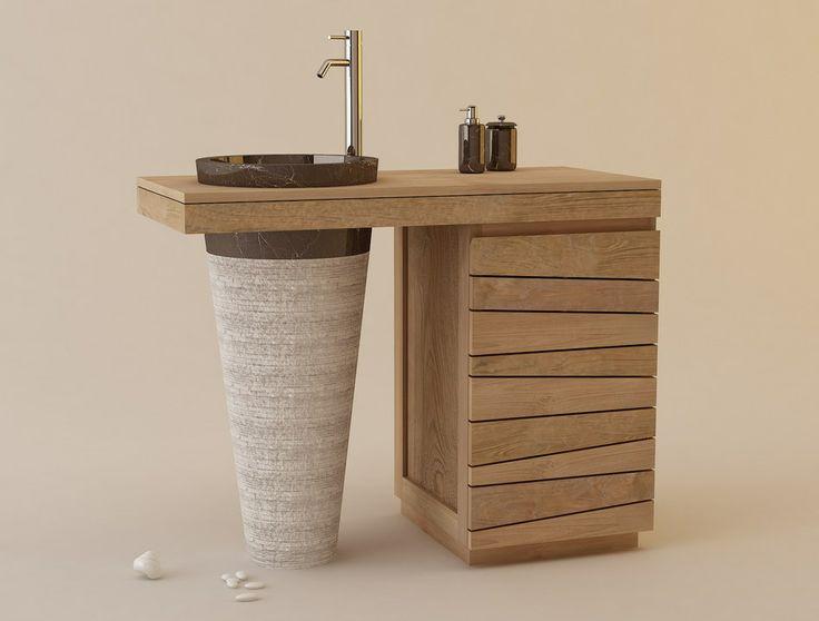 Muebles de Baños en Madera de Teca, Serie Lavamanos Simples / Ignisterra
