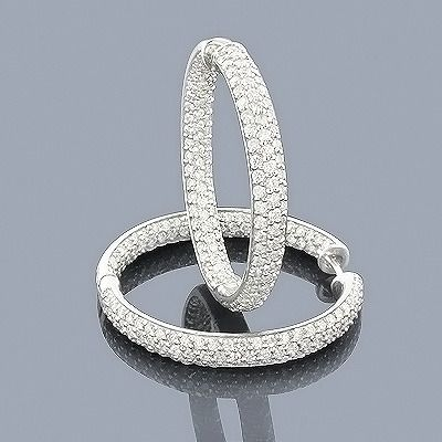 14K Inside Out Diamond Hoop Earrings 6.00ct