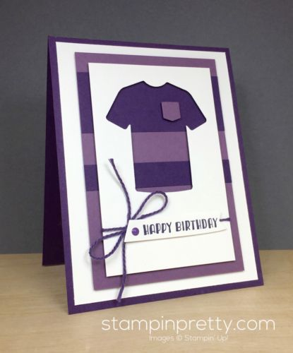 T-Shirt Builder Framelits Dies & Designer Tee masculine card idea created by Mary Fish, Stampin' Up! Demonstrator.  1000+ StampinUp & SUO card ideas.  Read more https://stampinpretty.com/2017/03/striped-t-shirt-masculine-card-double-tulip-days.html