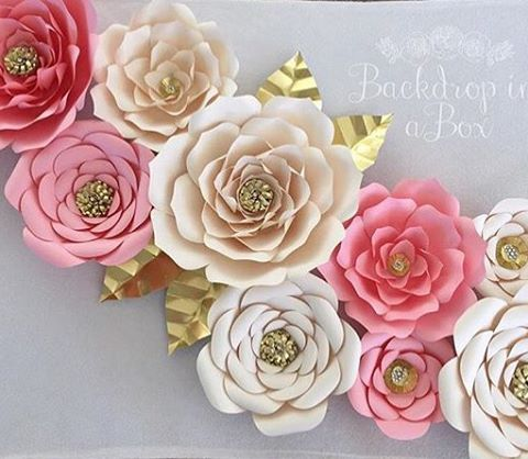 Close-up of Gorgeous paper flowers!!! By @backdropinabox A #musfollow she also sells templates to make these stunning flowers! #events #luxury #luxuryboutique #paperflowers #paperflowerwall #paperflowerbackdrop #storybookbliss #inspiration #pink #lovepink #gold #wedding #birthday #babyshower #sweet16 #glam