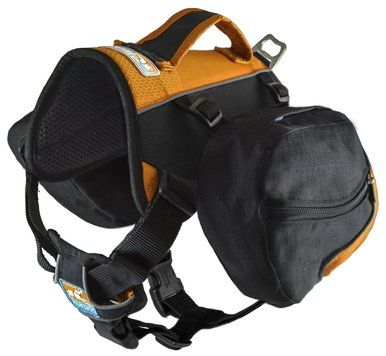 Kurgo Baxter Dog Backpack Bag Lightweight Tough 30-85lb Medium Black Orange