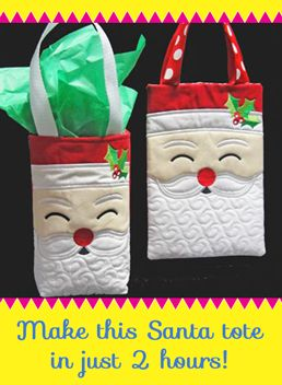 This Santa tote is perfect holiday gifts - and only takes a couple of hours! Embroidery designs, Christmas gift, embroidery project.