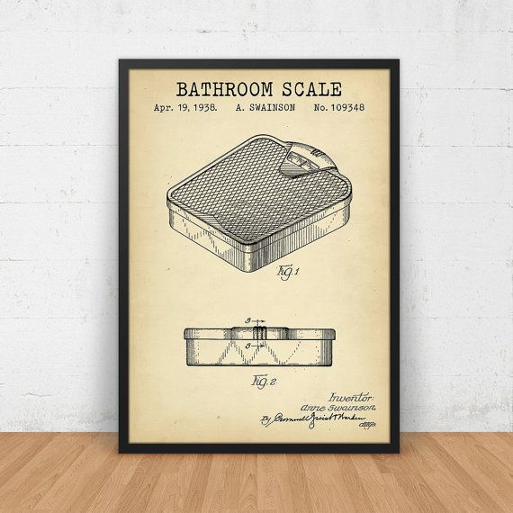 806 best vintage patents images on pinterest print store bathroom scale patent poster printable digital download malvernweather Gallery