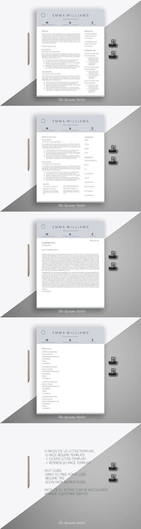 17 best ideas about nursing cv nursing resume resume template 4 page nurse cv printables 15 00
