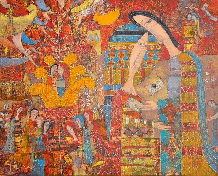 "Yuli Shumarev, ""Postman of love letters II"", oil, canvas, 54/65 http://www.largogallery.com/"
