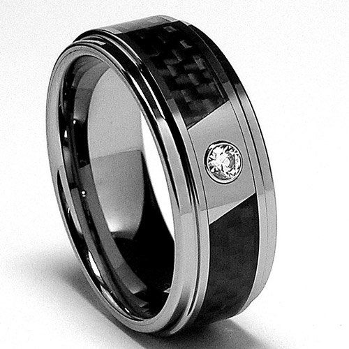 8MM Men's Tungsten Carbide Ring Wedding Band W/ Carbon Fiber Inaly and CZ sizes 7 to 13 $38.99 #bestseller