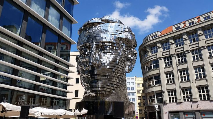 """One of David Cerny's creations. Kafka's Head behind the Quadrio Shopping Centre in the New Town. Look for the """"Narodni Trida"""" metro station on the map."""