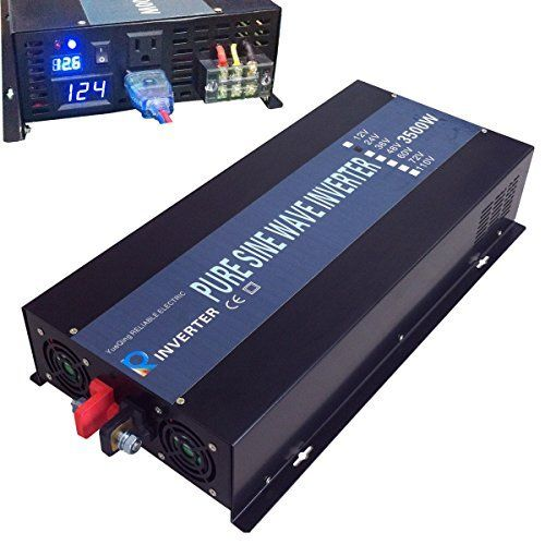 Reliable Off Grid 3500W Pure Sine Wave Inverter 12VDC to 120VAC Solar Power Inverter LED Display (Black) Yueqing Reliable http://www.amazon.com/dp/B00ZR5P6RK/ref=cm_sw_r_pi_dp_eB4Gwb1WHBVQT