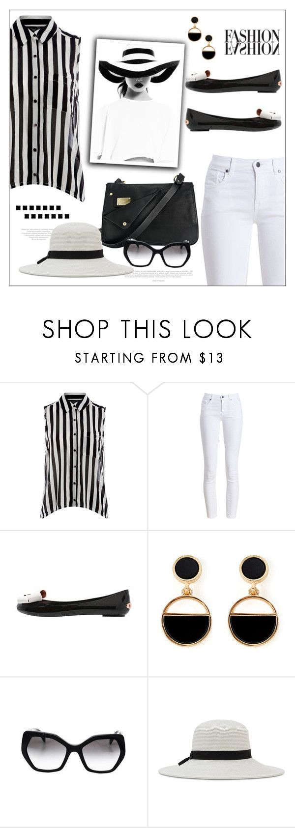 """Vertical Stripe Sleeveless Shirt"" by biange ❤ liked on Polyvore featuring Jumpo, Barbour, Frankie Morello, Ted Baker, Warehouse, Prada and Nine West"