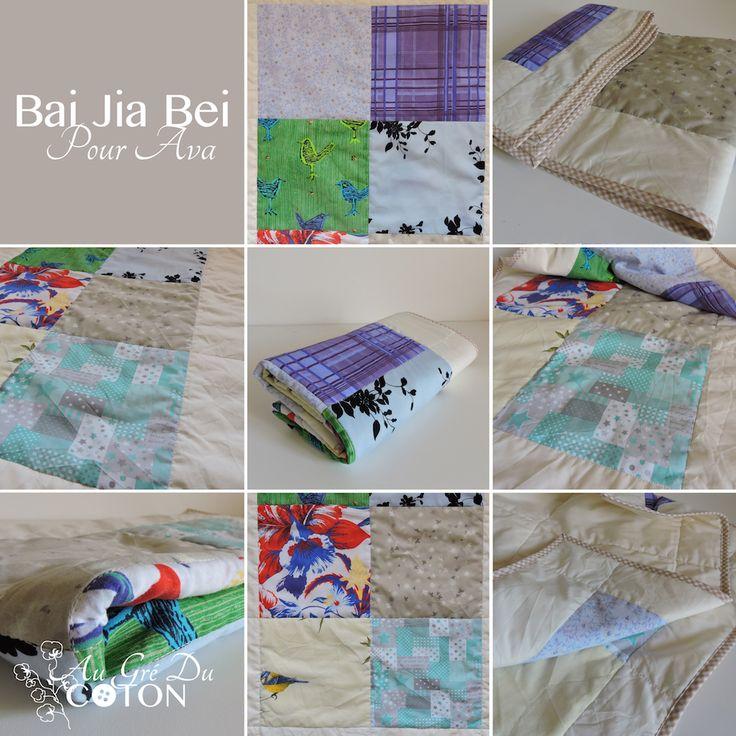 Bai Jia Bei pour Ava #baijiabei #Naissance   Assemblé en Juillet 2017 Nombre de voeux : 8 Dimensions : 50 cm x 90 cm Composition : Coton Couleur dominante : Multicolore