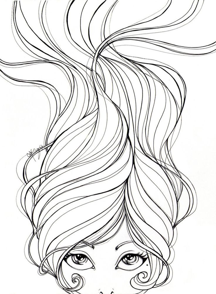 Line Art Hair : Unraveled lineart by catzilla coloring with alkohol