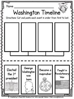 President's Day freebie - George Washington timeline