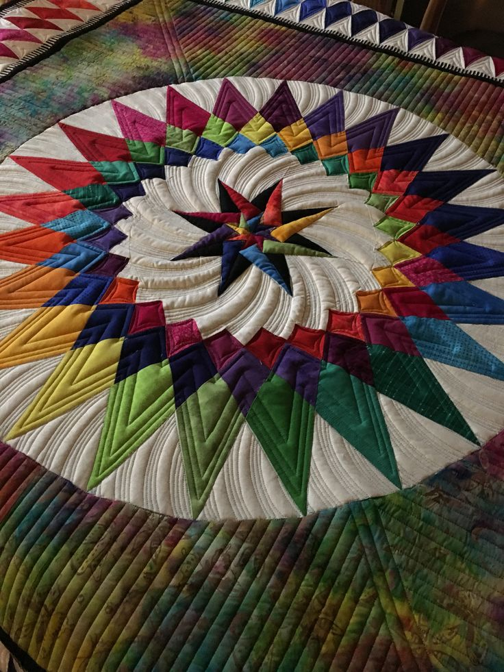 From a Jacqueline de Jonge pattern. Showing the center medallion section. Quilting design of arced lines makes it appear to rotate (or twirl)!