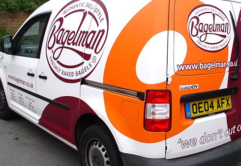 Bagelman partial Van Signwriting  Vehicle Signage  Vehicle wrapping done by The Sussex Sign Company