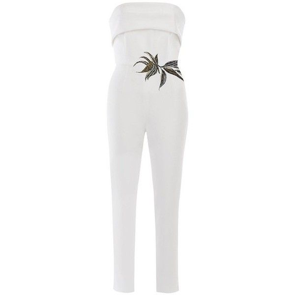 Mestiza Birds Of Paradise Strapless Stretch Jumpsuit (205 BAM) ❤ liked on Polyvore featuring jumpsuits, white, evening jumpsuits, jump suit, white party jumpsuits, going out jumpsuits and special occasion jumpsuits