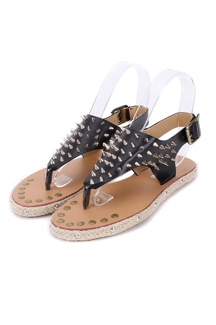 Flip Flops crafted in PU, featuring spike embellishment, pin buckle to side, flat heel and skidproof rubber sole.$58