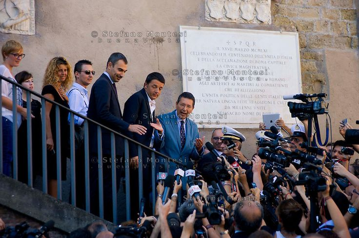The meeting of the two mayors of Rome and Florence, Ignazio Marino and  Matteo Renzi, in Rome with a visit to the Roman Forum and the Capitoline Museums. Ignazio Marino and Matteo Renzi, on the steps o…