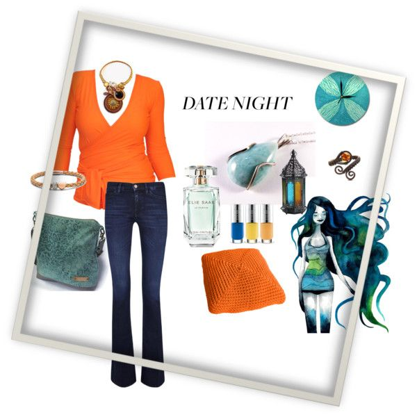 """Orange and blue"" by ildiko-vrabecz on Polyvore"