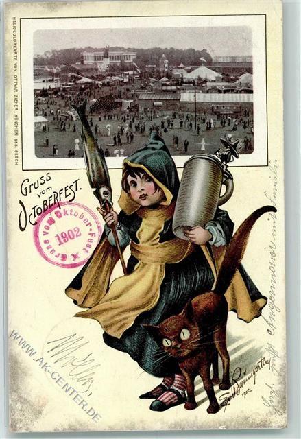 8000 München 1902 Oktoberfest Münchner Kindl Stockfisch Schwarze Katze