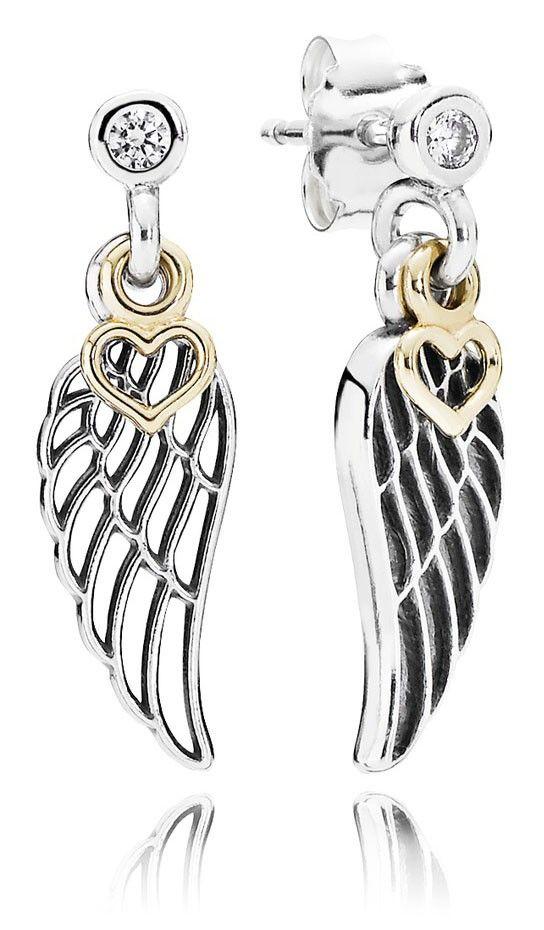 Pandora Oorstekers 'Vleugels met zirkonia en gouden Hartje' 290583CZ. Prachtige oorbellen in de vorm van een vleugel. Verrijkt met een schitterende zirkonia en een opengewerkt gouden hartje. Gouden gevleugelde liefde. https://www.timefortrends.nl/sieraden/pandora/muranoglas.html