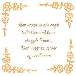 Een vrouw is een engel http://www.tegeltjeswijsheid.nl/kant-en-klare-tegel/een-vrouw-is-een-engel.html