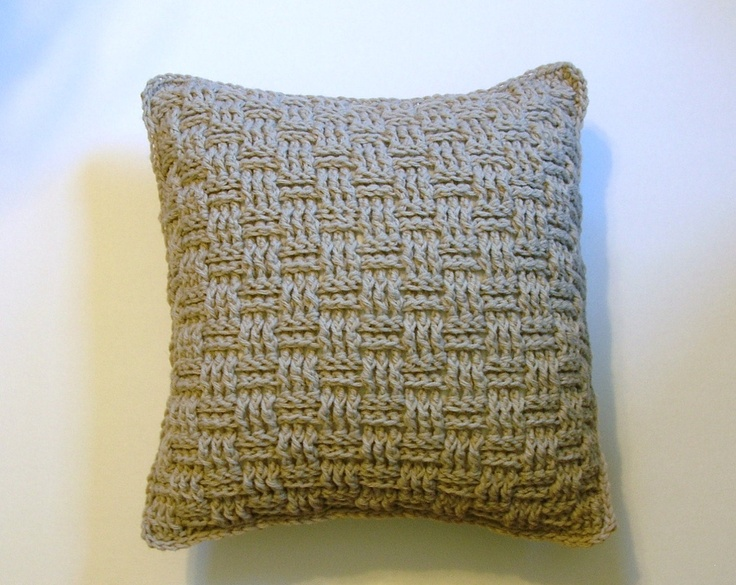 Crochet Accent Throw Pillow - Basketweave - Beige Neutral. $39.00, via Etsy.