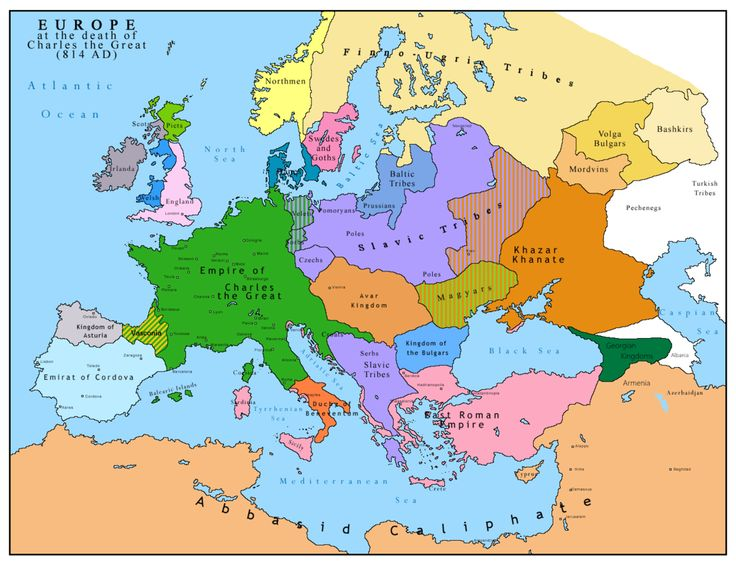 """Europe in 814. Roslagen is located along the coast of the northern tip of the pink area marked """"Swedes and Goths""""."""