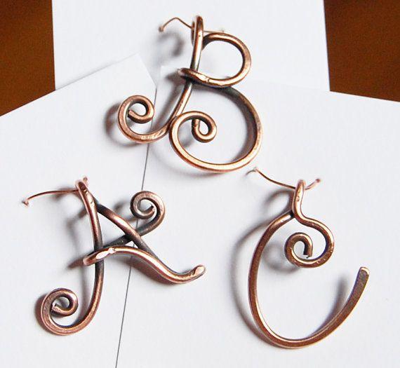 Initial Pendant Charm Oxidized Copper Wire by Karismabykarajewelry