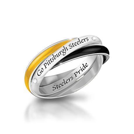 Pittsburgh Steelers 3-Band Rolling Ring With Engraving