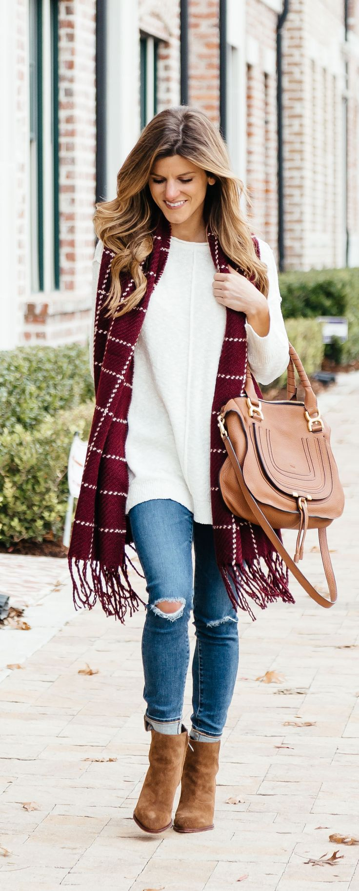 fall outfit, cream tunic sweater, burgundy scarf, chloe marcie bag tan, casual outfit idea winter accessories