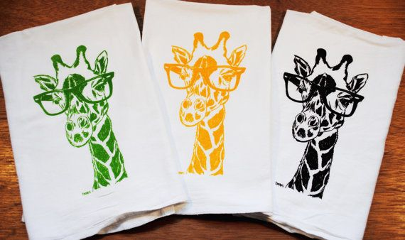 Giraffe Hand Tea Towels - Set of 3 - Screen Printed Cotton - Green Yellow Dark Brown Tea Towels - Kitchen Gifts