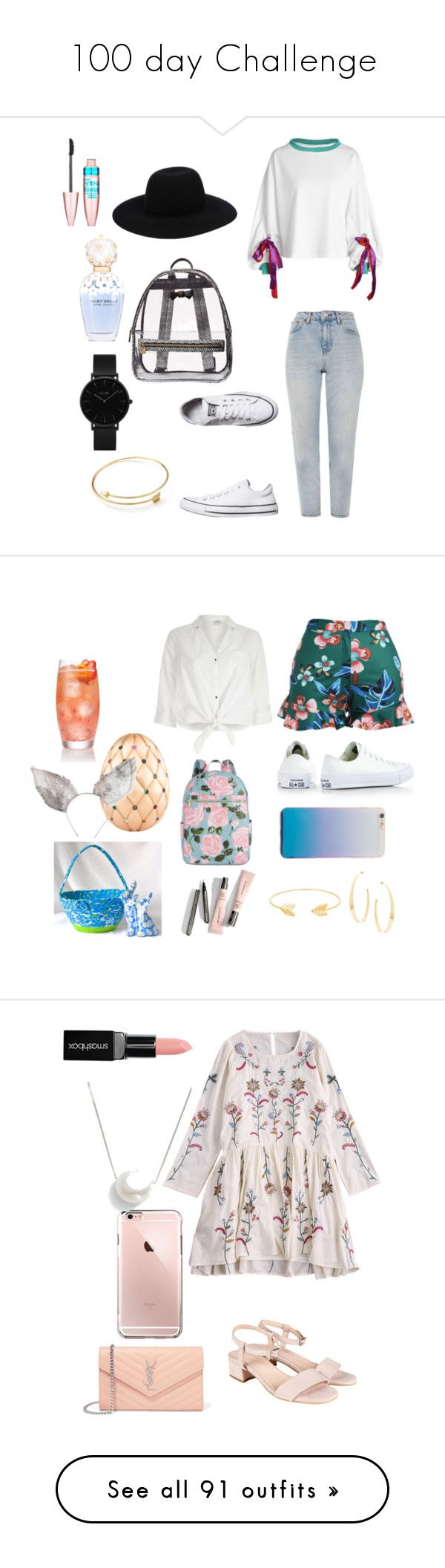 """""""100 day Challenge"""" by sofifer ❤ liked on Polyvore featuring Topshop, Converse, Betsey Johnson, Off-White, CLUSE, Marc Jacobs, Maybelline, River Island, ban.do and Lana"""