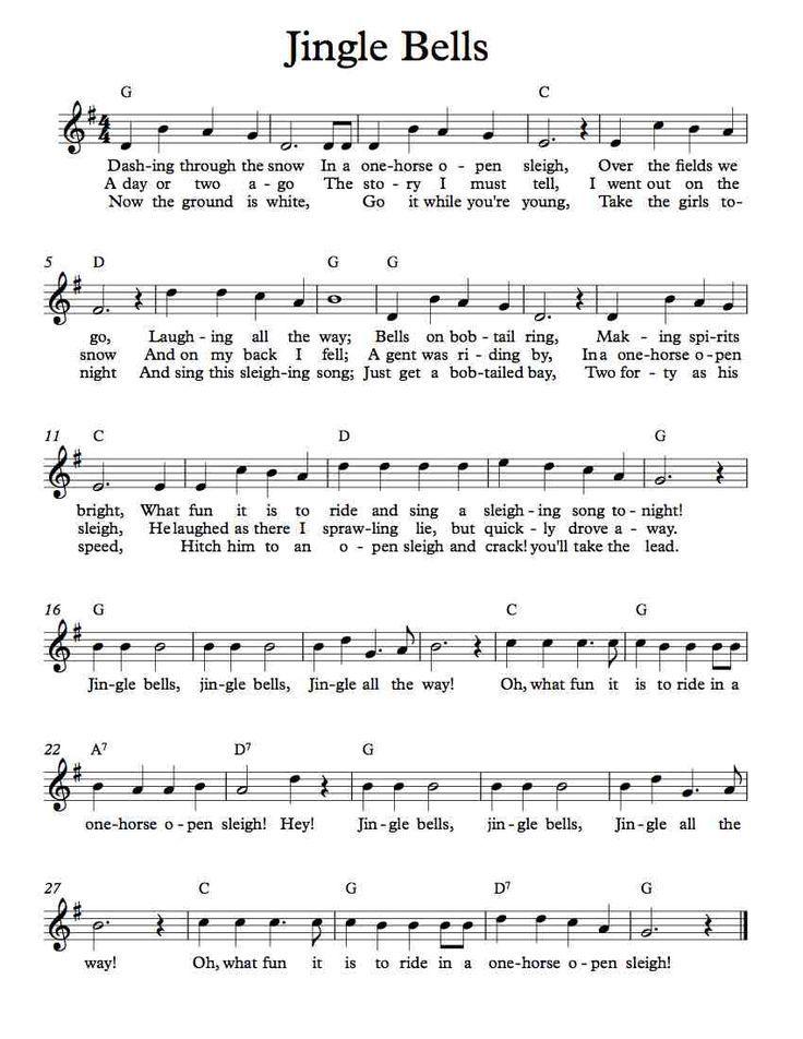 Free Sheet Music - Free Lead Sheet - Jingle Bells                                                                                                                                                                                 More