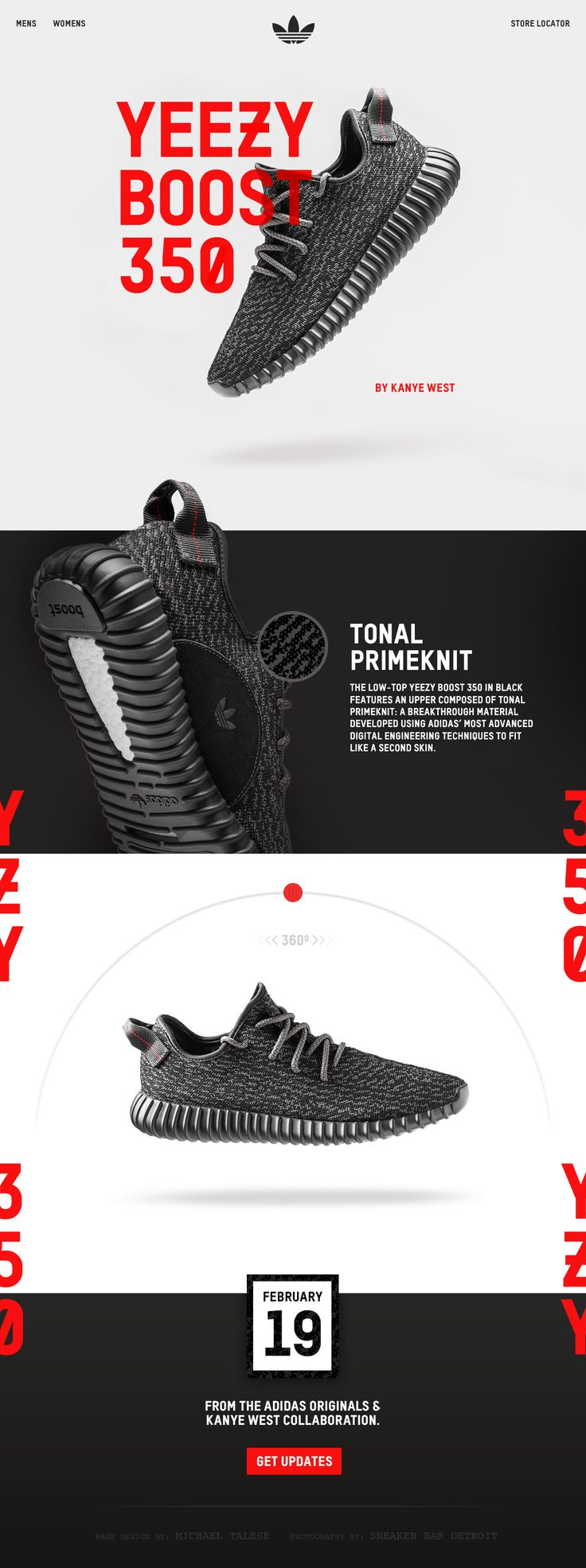 Product page concept for the restock of the YEEZY BOOST 350. By Michael Talese #Design #Digital #UI #Kanye #YZY350