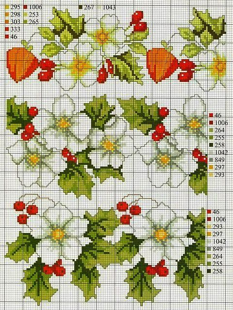 Cross-stitch Floral Borders...   ENCANTOS EM PONTO CRUZ: Flores