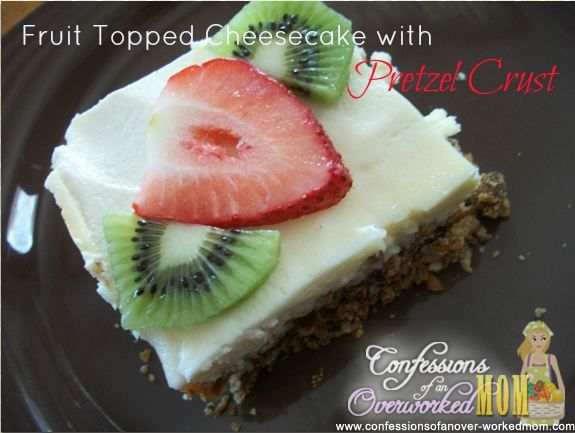 Fruit topped cheesecake recipe with pretzel crust