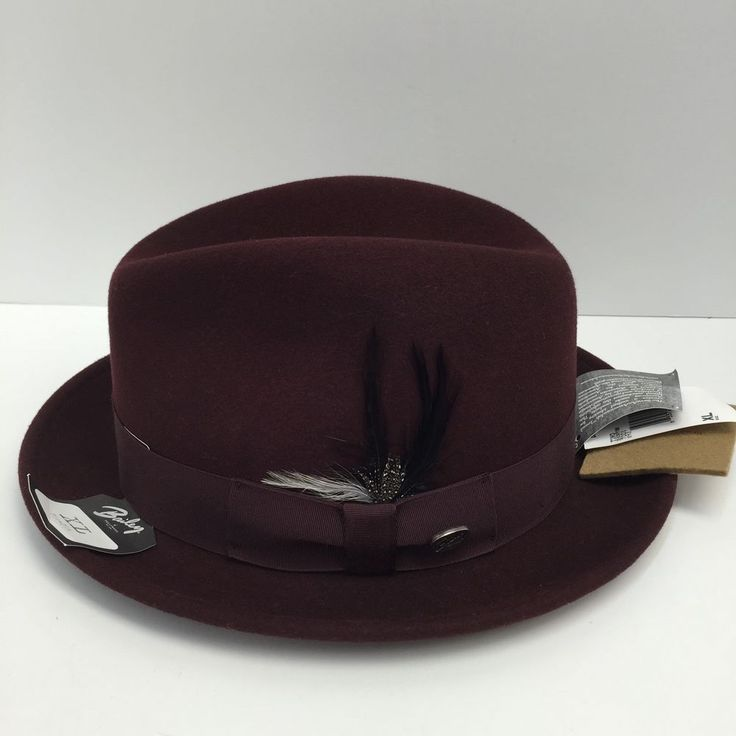 Bailey of Hollywood Burgundy Men's Dress Hat Litefelt Tino 7001 Size XL New #BaileyofHollywood #Tino