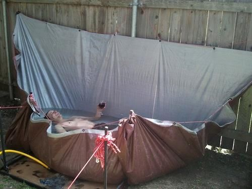 tarp redneck pool good idea for an outdoor bathtub ideas diy pinterest outdoor