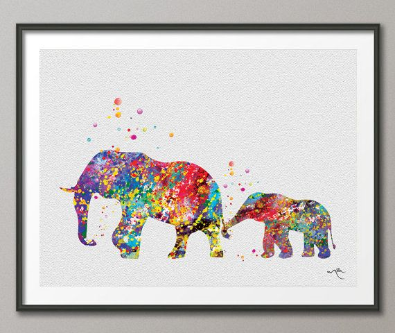 Elephant Family 2 Art Print Watercolor Painting Wedding Gift idea Wall Art  Giclee Wall Decor Art Home Decor Wall Hanging Nursery [NO 225]