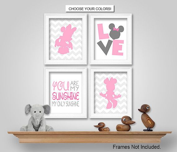 Minnie Mouse Nursery Bedroom Wall Art Decor Prints Canvas Printable