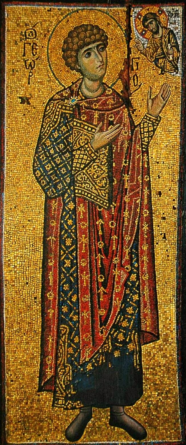 St. George the Great Martyr and Trophy-bearer - 12th Century Mosaic from Xenophontos Monastery, Mount Athos