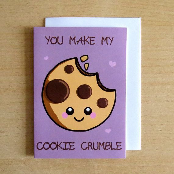 Our You Make My Cookie Crumble greeting card is a sweet way to let someone know how much they mean to you, and would make a fun Valentines Day card!  Details: * Inside is blank, making it easier for you to write your own personal message * Features original Little Miss Delicious artwork * Printed on high quality white recycled paper stock * Comes with a recycled brown envelope  Perfect for any occasion, just for fun or even to frame as kitsch artwork for your home!  All our greeting cards…