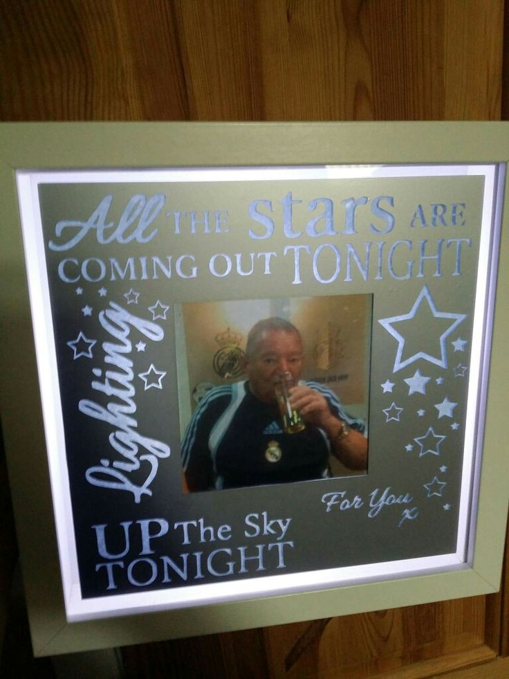 All the stars are coming out tonight, take that lyric, picture, light up frame in silver and white. https://www.facebook.com/Thorny-Tree-Gifts-972127826132391/