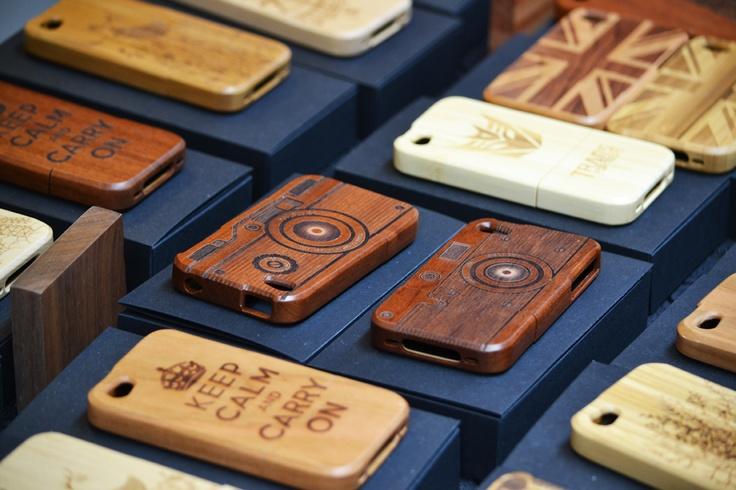 wooden iPhone covers in Camden Market