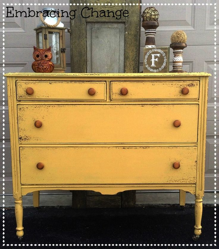 Chippy Antique Dresser in Miss Mustard Seed's Mustard Seed Yellow Milk Paint - Embracing Change